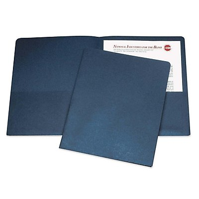 DOUBLE POCKET PORTFOLIO, LETTER SIZE, DARK BLUE, 25/BOX