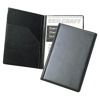 "VINYL STENO PAD HOLDER, VINYL/FOAM, 6"" X 9"", 80 PAGE, BLACK"