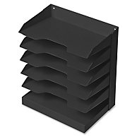 HORIZONTAL LETTER SIZE DESK FILE, 12 X 8 1/2 X 15, 6 SHELF, BLACK