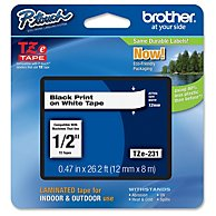 BROTHER TZ BLK/WHT TAPE .50 X 26.2 BLACK/WHITE-TZE231