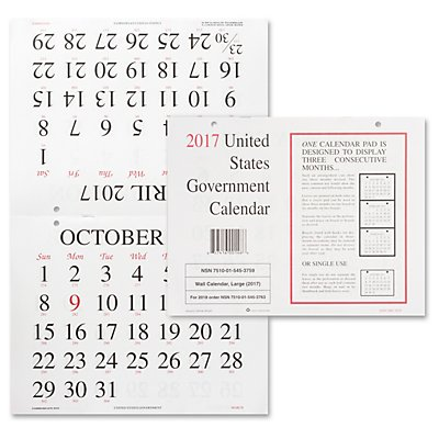 Skilcraft Monthly Wall Calendar 2017, 8 1/2 X 11, 10/pack