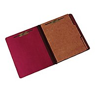 "HEAVY-DUTY CLASSIFICATION FOLDER, 1"" CAP. PRONGS, EARTH RED"
