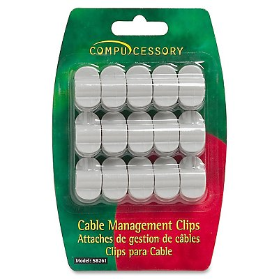 Compucessory Cable Clip - Cable Clip - Gray - 1 Pack
