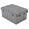 "Akro-Mils Attached Lid Container - Internal Dimensions: 8.63"" Height - External Dimensions: 21.5"" Length x 15"" Width x 9"" Height - 35 lb - 8 gal - Padlock, String/Button Tie Closure - Stackable - Plastic - Gray - For File - 1 Each"