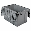 "Akro-Mils Attached Lid Container - Internal Dimensions: 12"" Height - External Dimensions: 21.5"" Length x 15"" Width x 12.5"" Height - 65 lb - 12 gal - Padlock, String/Button Tie Closure - Stackable - Plastic, Polymer - Gray - For File - 1 Each"
