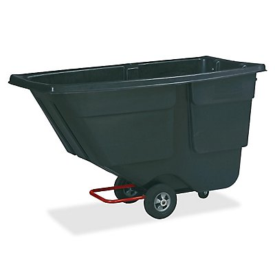 "Rubbermaid One Cubic Yard Service Tilt Truck - 43.8"" Height x 72.3"" Width x 33.5"" Depth - Plastic, Polypropylene, Steel - Black"