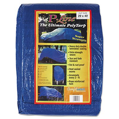 Multiple Use Tarpaulin, Polyethylene, 20 Ft X 40 Ft, Blue