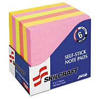 SELF-STICK NOTE PADS, 3 IN X 3 IN, UNRULED, ASSORTED NEON COLORS